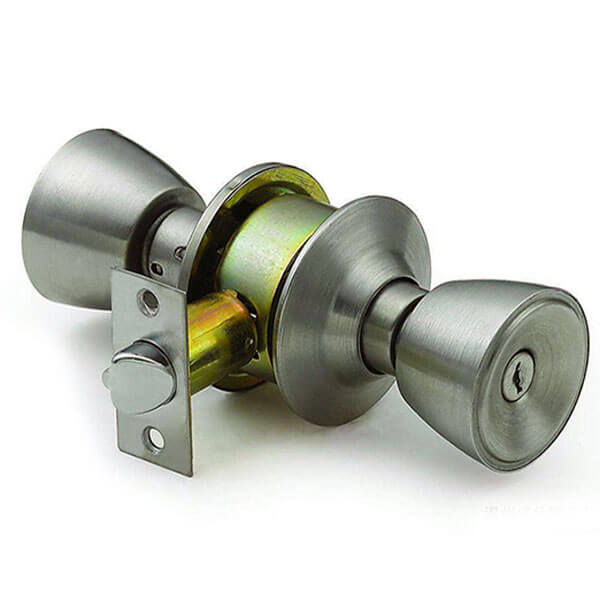 585AB ET - Bed And Bath Door Knob With Keys And Push Pin On One Side 585