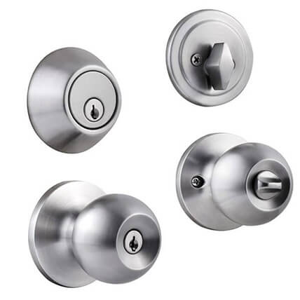 Front Door Knob Deadbolt Combo With Turn Button And Same Keys D T587SS 1 - Cylindrical Lever Lockset And Deadbolt Lock Combo Packs D101+6491