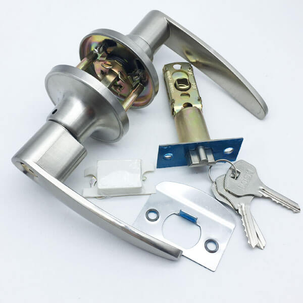 Keyed Entry Lever Door Lock With Key For Security Doors T6491SS ET 4 - Commercial Push Button Privacy Handles For Interior Doors T6491