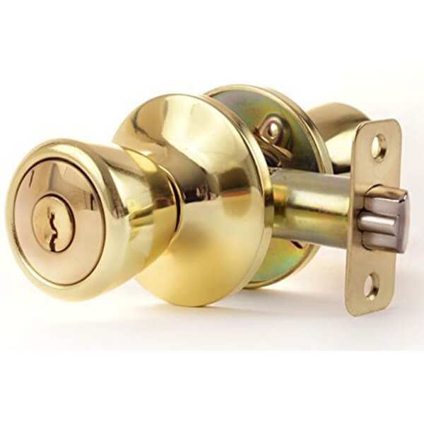 One Way Locking Door Knob For Exterior Doors And Bedroom Doors 576PB ET 1 - One Way Locking Privacy Lock Door Knob For Bedroom Doors T576