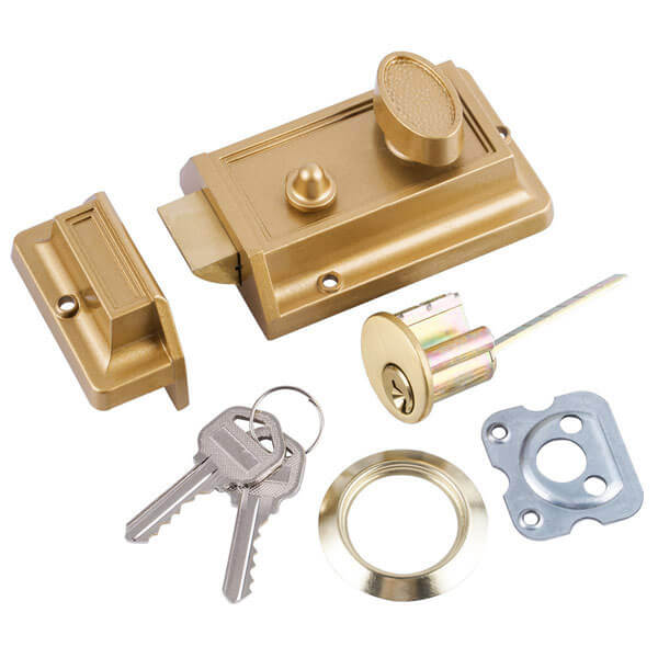 Solid Brass Rim Lock With Turn Button For Interior Doors And Sale 564SB 1 - Bathroom Rim Latch With Turn Button For Interior Doors And Sale 564