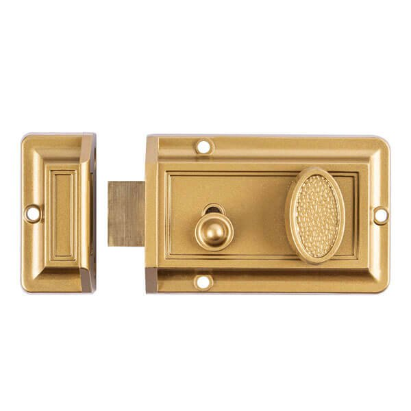 Solid Brass Rim Lock With Turn Button For Interior Doors And Sale 564SB 2 - Bathroom Rim Latch With Turn Button For Interior Doors And Sale 564
