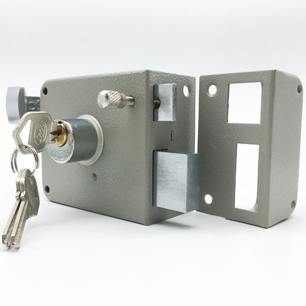 Traditional High Security Outward Opening Antique Rim Locks For Doors 715gray 1 - Traditional High Security Surface Mounted Rim Lock For Doors 715