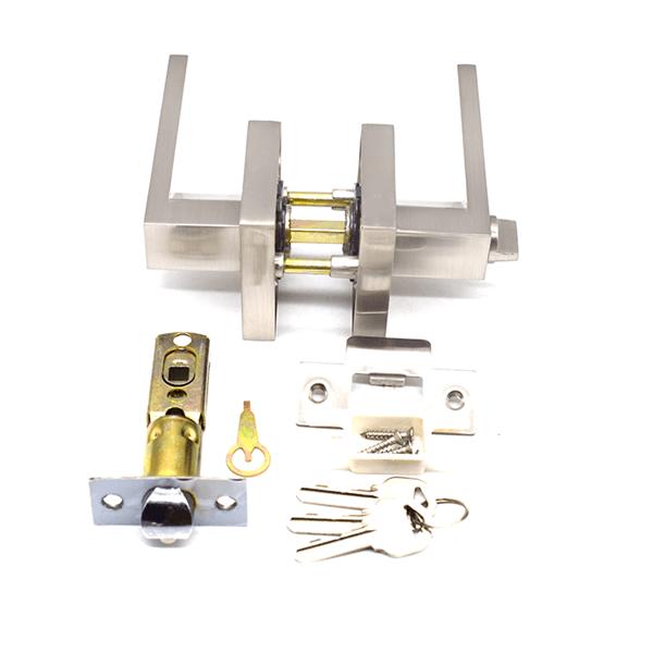Zinc Alloy Tubular Child Proof Locks For Lever Handles 3201SS ET - Modern Matte Black Door Levers With Lock For Commercial Door 3201