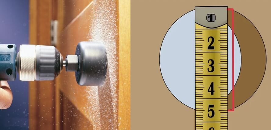 Measure the drilling hole of door knob - How to choose door knobs for your home?